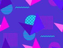 Memphis seamless pattern. Geometric elements memphis in the style of 80s. Isometric figures retro background. Great for brochures, promotional material stock illustration