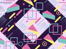 Memphis seamless pattern. Geometric elements memphis in the style of 80`s. Synthwave retro background. Retrowave. Vector. Illustration Stock Images