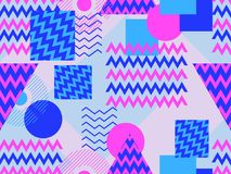 Memphis seamless pattern. Geometric elements memphis in the style of 80s. Synthwave retro background. Retrowave. Vector. Illustration Stock Images
