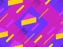 Memphis seamless pattern. Geometric elements memphis in the style of 80`s. Synthwave retro background. Retrowave. Vector illustration Stock Photo