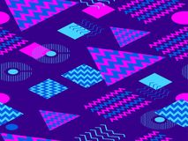 Memphis seamless pattern. Geometric elements memphis in the style of 80`s. Synthwave retro background. Retrowave. Vector. Illustration Stock Photography
