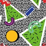 Memphis pattern 80s. Memphis seamless pattern of geometric shapes of different colors, with different types of shadows, against a noisy texture in the style of royalty free illustration