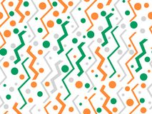 Memphis seamless pattern. Geometric shapes, orange and green, retro style of the 80s. Vector. Illustration Royalty Free Stock Photo
