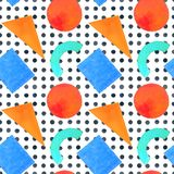 Memphis seamless pattern of geometric shapes 80`s-90`s styles on. Memphis seamless pattern of geometric shapes for tissue and postcards. Hipster poster 80`s-90`s Stock Images