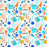 Memphis seamless pattern of geometric shapes 80`s-90`s styles on. Memphis seamless pattern of geometric shapes for tissue and postcards. Hipster poster 80`s-90`s Royalty Free Stock Image