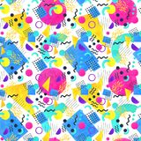 Memphis seamless pattern of geometric shapes 80`s-90`s styles on. Memphis seamless pattern of geometric shapes for tissue and postcards. Hipster poster 80`s-90`s Stock Image