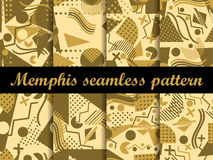 Memphis seamless pattern. Gold color. Geometric elements memphis in the style of 80's. Vector. Illustration Royalty Free Stock Images