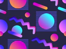 Memphis seamless pattern with gradient shape in the style of 80s. Synthwave, futurism background. Retrowave. Vector. Illustration royalty free illustration