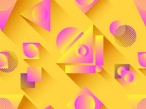 Memphis seamless pattern. Holographic geometric shapes, gradients, retro style of the 80s. Memphis design background. Vector. Illustration royalty free illustration
