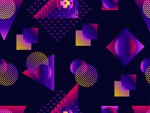 Memphis seamless pattern. Holographic geometric shapes, gradients, retro style of the 80s. Memphis design background. Vector. Illustration vector illustration