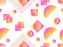 Memphis seamless pattern. Holographic geometric shapes, gradients, retro style of the 80s. Memphis design background. Vector. Illustration stock illustration