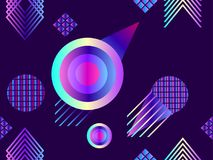 Memphis seamless pattern. Holographic geometric shapes, gradients, retro style of the 80s. Memphis design background. Vector. Illustration Royalty Free Stock Images