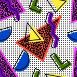 Memphis seamless pattern. Memphis style seamless pattern from the 80s and 90s, from geometric shapes, triangles filled with noisy, with color shadow and black royalty free illustration