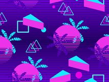 Memphis seamless pattern with palm tree. Geometric elements memphis in the style of 80s. Synthwave futuristic background. Retrowav. E. Vector illustration royalty free illustration