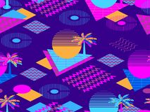 Memphis seamless pattern with palm tree. Geometric elements memphis in the style of 80s. Synthwave futuristic background. Retrowave. Vector illustration royalty free illustration