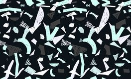 Memphis seamless pattern in retro style. Doodle pattern hand-drawn pen, ink, chalk. Stock Photos