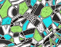 Memphis seamless pattern in retro style. Doodle pattern hand-drawn pen, ink, chalk. Stock Photo