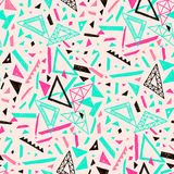 Memphis seamless pattern in retro style. Doodle pattern hand-drawn pen, ink, chalk. Stock Images