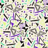 Memphis seamless pattern in retro style. Doodle pattern hand-drawn pen, ink, chalk. Wallpapers scattered cutting elements Stock Photos
