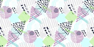 Memphis seamless pattern in retro style. Doodle pattern hand-drawn pen, ink, chalk vector illustration