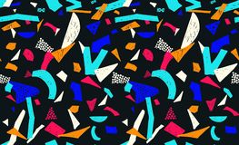 Memphis seamless pattern in retro style. Doodle pattern hand-drawn pen, ink, chalk. Royalty Free Stock Images