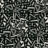 Memphis seamless pattern in retro style. Doodle pattern hand-drawn pen, ink, chalk. Wallpapers scattered cutting elements Royalty Free Stock Image
