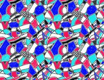 Memphis seamless pattern in retro style. Doodle pattern hand-drawn pen, ink, chalk. Wallpapers scattered cutting elements Royalty Free Illustration
