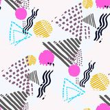 Memphis seamless  pattern in retro style. Stock Photo