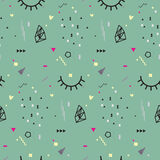 Memphis seamless pattern 80`s-90`s styles. Trendy . Colorful geometric background, different shapes. Vector Illustration Stock Image