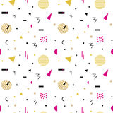 Memphis seamless pattern 80`s-90`s styles. Trendy . Colorful geometric background, different shapes. Vector Illustration Stock Images