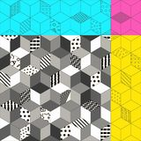 Vector seamless memphis. Memphis seamless pattern 80s-90s-vector illustration. Colorful geometric seamless pattern of cubes with different geometrical patterns royalty free illustration