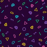 Memphis seamless pattern 80`s-90`s style. Trendy memphis style. Colorful geometric background. Hipster style.Colorful. Memphis seamless pattern 80`s-90`s style Royalty Free Stock Photography