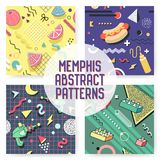 Memphis Seamless Pattern Set. Abstract Trendy Background Retro Style. Modern Poster Banner, Card Design with Geometric Elements Royalty Free Stock Images