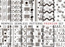 Memphis seamless pattern set royalty free illustration