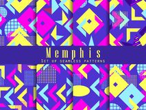 Memphis seamless pattern set. Geometric elements memphis in style of 80s. Isometric figures. Great for brochures, promotional material and wallpaper. Vector royalty free illustration