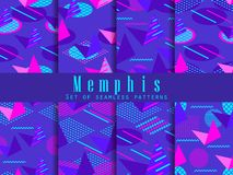 Memphis seamless pattern set. Geometric elements memphis in style of 80s. Isometric figures. Great for brochures, promotional material and wallpaper. Vector stock illustration