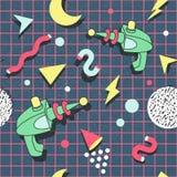 Memphis Seamless Pattern Space Theme Abstracte Retro Stijl In Als achtergrond royalty-vrije illustratie