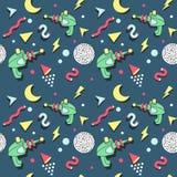 Memphis Seamless Pattern Space Theme Estilo retro do fundo na moda abstrato ilustração royalty free