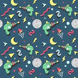 Memphis Seamless Pattern Space Theme Rétro style de fond à la mode abstrait Photographie stock