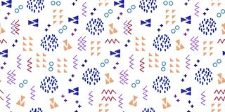 Memphis seamless pattern vector illustration with geometric abstract dotted triangle background multicolor. Funky fashion bright colorful template doodle retro royalty free illustration