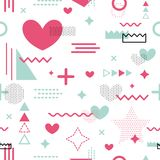 Memphis seamless pattern vector valentines day geometric shapes love heart romantic tissue fabric texture Royalty Free Stock Images