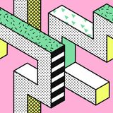 Memphis Seamless Patterns abstrato com formas 3d geométricas Projeto da tela da forma 80s 90s Fundo na moda do moderno ilustração royalty free