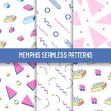 Memphis Seamless Patterns Set de moda abstracto Fondos blancos de las formas geométricas para la textura, envolviendo Fotos de archivo libres de regalías