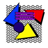 Memphis set 80s. Memphis set, a background of geometric shapes on a background of waves in the style of the 80`s royalty free illustration