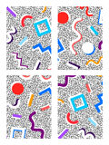 Memphis set of backgrounds geometric colored figures on a noisy background 80`s. Memphis set of backgrounds with geometric colored figures with a white shadow on stock illustration