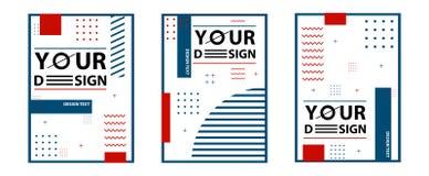 Memphis stilkort Ställ in av mallar i moderiktigt memphis mode 80-90s Göra perfekt för annonsen, hälsningkort, presentationen, rä stock illustrationer