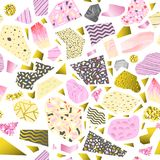 Memphis Style Abstract Seamless Pattern Fondo de oro dibujado mano de la moda 80s 90s del inconformista para el cartel de la tela Imagen de archivo libre de regalías