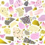 Memphis Style Abstract Seamless Pattern Hand dragen guld- bakgrund för 90-tal för Hipstermode80-tal för affisch för textiltyg Royaltyfri Bild