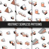 Memphis Style Abstract Seamless Patterns ajustou-se com elementos geométricos Fundos funky da forma do moderno 80s-90s ilustração royalty free