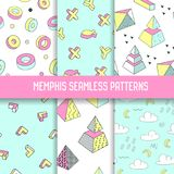Memphis Style Abstract Seamless Patterns Set with Geometric Elements. Funky Hipster 80s-90s Fashion Backgrounds. For Wallpaper, Posters, Fabric. Vector Royalty Free Stock Photos
